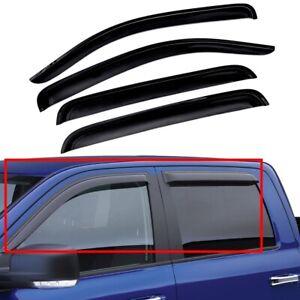 For 2009-2018 Ram 1500 Crew Cab Window Visor Rain Sun Guard Wind Deflector Smoke
