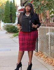 NWT Torrid Size 4 Red Black Plaid Midi Pencil Skirt Stretch Knit Punk Rockabilly
