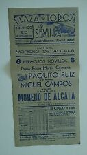 1951 Cartel Plaza de Toros Sevilla Moreno de Alcala Ruiz Campos Carmona Corrida