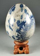 Very Rare Blue AZURITE in K2 JASPER Granite Sphere Egg w/Rosewood Madagascar
