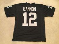 UNSIGNED CUSTOM Sewn Stitched Rich Gannon Black Jersey - M, L, XL, 2XL