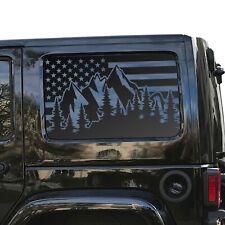 USA Flag w/Mountain Scene Decals for Jeep Wrangler window 2007-2020 JLU QR2-JK4