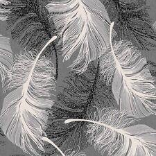 Monocromatico Grigio Bianco Piuma Nera Carta da parati Brillantini Argento da