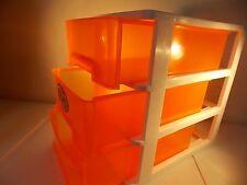*DESK TOP*3 DEEP DRAWERS-PLASTIC ORGANIZER-CLEAR EZ 2 SEE-STORAGE HOBBIES-ORANGE