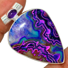 Mexican Laguna Lace & Amethyst 925 Sterling Silver Pendant Jewelry AP192080
