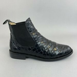 Russell & Bromley Black Croc Patent Leather Ankle Pull On Chelsea Boot 37 UK 4