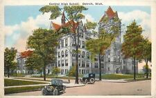 Detroit MI~Central High School~Model Cars~1929 Postcard