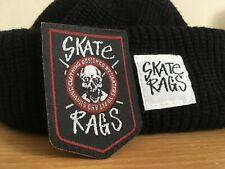 Skate Rags Watch Cap Commando Hat Beanie + Embroidered Patch BLACK