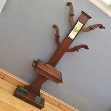 More details for antique victorian oak hall stand hat coat umbrella tree shape vintage old mirror