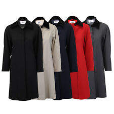 Ladies Coat Womens Jacket Trench Overcoat Velvet Collar Long Casual Lined Summer