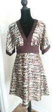 Intrigue Size Medium Kimono Style  Dress satin Brown Polka Dot