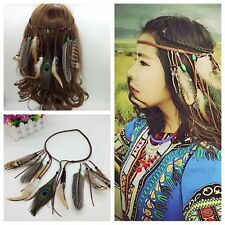 Boho Indian Feather Headband Headdress Tribal Hair Rope Hippie Party Headpieces