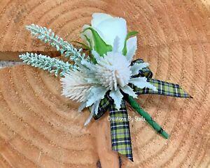 Wedding Buttonhole~Cornish Tartan~Artificial Silk Ivory Rosebud~Ivory Thistles