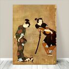 """Beautiful Vintage Japanese Art ~ CANVAS PRINT 18x12"""" ~ Couple with Dog"""