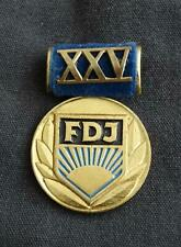 FDJ Ehrenmedaille 25. Jahrestag der FDJ, an Samtspange