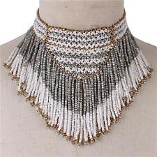 "13""  gold white seed bead boho bib collar choker necklace"