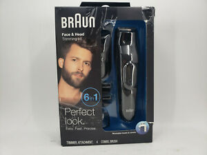 BRAUN FACE & HEAD TRIMMING KIT 6 IN 1 MODEL MGK3020 WASHABLE HEADS + 4 COMBS