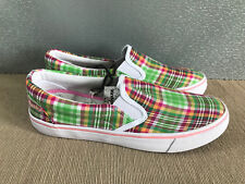 BNWT Older Girls Sz 5 Rivers Doghouse Brand Pink Green check slip on Canvas Shoe