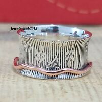 Solid 925 Sterling Silver Spinner Ring Meditation statement Ring Size sr0156