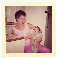 Square Vintage 60s PHOTO Woman Mom in Pink w/ Glasses Holding Baby on Lap