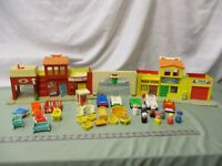 Fisher Price Little People Town SET Play Family Village 997 BD Fire Mail truck