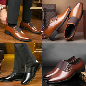 Men's Oxfords Casual Leather Shoes Pointed Toe Business Dress Formal Office Work