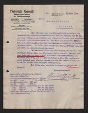 BERLIN, Brief 1922, Heinrich Genuit Tischlerwerkzeuge