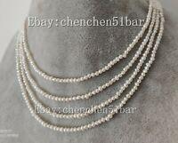 echte kultivierte kleine 2-3mm weiße Süßwasser Süßwasser Perlenkette 60 Zoll