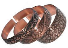 3 Pure 100% Copper Bracelets Bioactive Bangles Vintage Style Bronze
