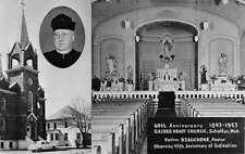 Schaffer Michigan Sacred Heart Church Interior Real Photo Antique PC K29981