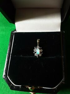 9ct Yellow Gold Opal Sapphire and C. Z Pendant