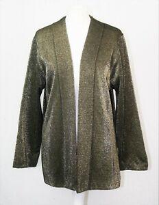 Black Gold Sparkle Glitter Jacket Style Evening/Party Retro UK 16-18