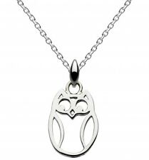 Dew 925 Sterling Silver Open Owl Pendant - With Sterling Silver Chain