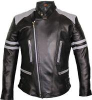 Herren Retro Motorrad Lederjacke in schwarz / grau