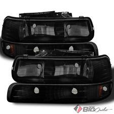 For 99-02 Silverado, 00-06 Tahoe/Suburban Black Smoked Headlights Bumper Set