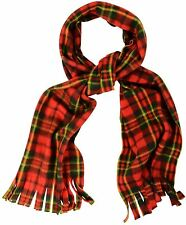 Red Tartan Check Scarf - Soft and Cosy Fleece Scarves with Tassles