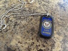 CHALLENGE COIN USN UNITED STATES NAVY RETIRED DOG TAG KEY CHAIN SILENCER