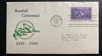 1939 Cooperstown USA First day Cover FDC Baseball Centennial Sc#855