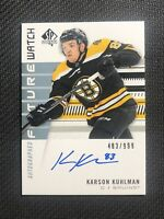 2019-20 SP AUTHENTIC KARSON KUHLMAN ROOKIE FUTURE WATCH AUTO #ed 483/999