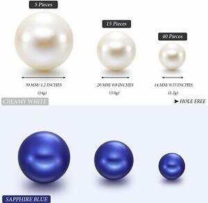 Ten Dozen Pearl White / Royal Blue Asst Size Craft Decor Vase Centerpiece Beads