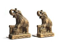 RARE VINTAGE SYROCO WOOD ELEPHANTS BOOK ENDS SET BOOKENDS