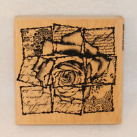 Rose Squares LARGE Wood Mounted Rubber Stamp Impression Obsession #H4149  NEW