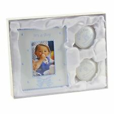 BLUE IT'S A BOY PHOTO FRAME WITH 1ST TOOTH AND 1st CURL - NEW BABY GIFT