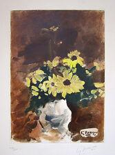 """GEORGES BRAQUE Hand Signed 1960 Color Etching - """"Vase de fleurs jaunes"""""""