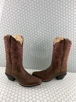NWB ARIAT Round Up Brown Leather Square Toe Pull On Western Boots Women's 7.5 B