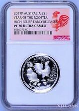 2017 Australia Lunar Year Of Rooster High Relief Proof 1oz Silver Coin NGC PF70