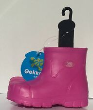 Girl's Rain Outdoor Rubber Boots Gekkos Kids Size 1 Hot Pink NEW
