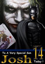 """BATMAN & I Joker """"POPART"""" Personalizzata Compleanno CARD!! qualsiasi nome / relazione / età!"""