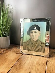 GENUINE ART DECO 30'S MIRRORED WALL / TABLE PHOTO FRAME SOLDIER WAR ARMY PICTURE