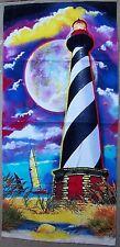 "Beach Blanket Towel Lighthouse at Moonlight 30"" x 60"" New 100% Cotton"